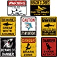 8 Styles Shark Zone Party Decorations, Funny Be Ware of Sharks Party Wall Decor Signs for Boys Girls Birthday Party, Ocean Sh
