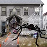 Cheerin Outdoor Halloween Decorations - Scary Spider Decorations Set Comes with 50 inches Giant Fake Spider, 200 inches Trian