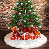 DegGod White Christmas Tree Skirts, 48 inches/122cm Luxury Faux Fur Xmas Tree Skirt [2018 New] Large Plush Tree Base Cover fo