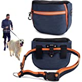risdoada Dog Treat Pouch for Training, 4 Ways to Wear Auto Closing Portable Dogs Walking Bag with Adjustable Belt, Oxford Clo