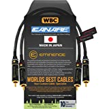 1 Foot RCA Cable Pair - Canare L-4E6S, Star Quad, Audio Interconnect Cable with Premium Gold Plated Locking RCA Connectors -