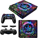 eXtremeRate Full Set Faceplate Skin Decals Stickers and 2 Led Lightbar for Playstation4 Slim/PS4 Slim Console & 2 Controller