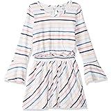 Splendid Girls' Big Multi Stripe Long Sleeve Dress, Off White