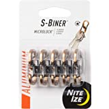 Nite Ize S-Biner MicroLock, Locking Key Holder, Aluminum, 5 Pack, Coyote