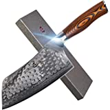 """TUO Cutlery Cleaver Knife 7"""" - Japanese AUS-10 Damascus Steel Hammered Finish - Chinese Chef's Knife For Meat And Vegetable W"""