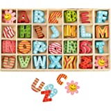 84Pcs Wooden Letters and Flower Set- Assorted Colored Wooden Capital Letters & Flower with Storage Tray - Wooden Alphabet Cra