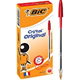 BIC 954378 Cristal Original Ball Pens Medium Point (1.0 mm)- Red, Box of 12