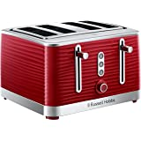 Russell Hobbs RHT114RED, Structure 4 Slice Toaster, Dual Browning Controls, High-Lift, Red