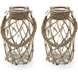 "Funsoba Rustic Hanging Mason Jar Creative Rope Net Dry Flower Glass Vase with Handle Pack of 2 2 Vase 8"""