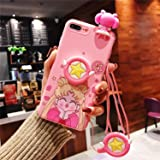 MOQINO Cartoon Funny Pink Sailor Moon iPhone Case Holder Stand Strap Soft TPU Case Cover Phone Case (Style 2,iPhone 11)