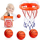 MARPPY Bath Toys, Bathtub Basketball Hoop for Toddlers Kids, Boys and Girls with 3 Soft Balls Set & Strong Suction Cup, Batht