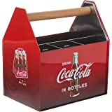 The Tin Box Company Coca Cola Galvanized Tin Utensil Caddy with Handle, red