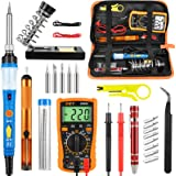 Soldering Iron Kit Electronics, 60W Adjustable Temperature Welding Tool, Digital Multimeter, Soldering Iron Tips,Desoldering