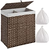 Greenstell Laundry Hamper with 2 Removable Liner Bags, Divided Clothes Hamper, 110L Handwoven Synthetic Rattan Laundry Basket