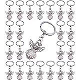 PHAETON 50PCS Silver Tone Guardian Angel Charm Keychain Key Ring, 3.14