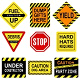 Blulu Party Decorations, Laminated Signs, Theme Party Signs, Paper Cutouts with 40 Glue Point Dots 9 Pieces Construction Sign