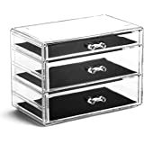 BINO 5 Drawer Acrylic Jewelry and Makeup Organizer, Clear Cosmetic Organizer Vanity Storage Display Box Make Up Organizers An