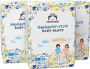 【パンツ Lサイズ】Mama Bear (ママベアー) ふわふわベビーパンツ (9~14kg) 168枚(56枚×3パック) [ケース品] [Amazonブランド]