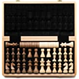 "A&A 15"" Folding Wooden Chess & Checkers Set w/ 3"" King Height German Knight Staunton Wooden Chess Pieces Extra 2 Queen - Clas"