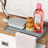 YOHOM Kitchen Sink Sponge Holder Organizer for Countertop Soap Tray Dishwashing Sponge Holder with Suction Cups Dish Cloth Ho