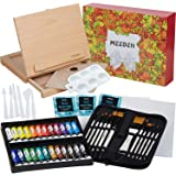 MEEDEN 48 Pcs Acrylic Painting Set - Solid Beech Wood Sketchbox Easel, 24×12ML Acrylic Paint Set, Canvas Panels, Acrylic Pain