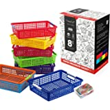 Magicfly Paper Organizer Basket, Pack of 8, Colorful Plastic Bins with Handles, Classroom Office File Holder, Plastic Baskets