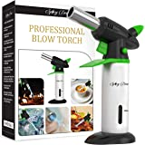 Blow Torch - Best Creme Brulee Torch - Refillable Professional Kitchen Torch with Safety Lock and Adjustable Flame - Culinary