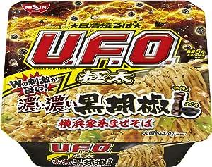 日清 焼そばU.F.O. 極太 濃い濃い黒胡椒 横浜家系まぜそば 160g ×12個