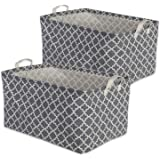 """DII Cotton/Polyester Cube Laundry Basket, Perfect In Your Bedroom, Nursery, Dorm, Closet, 12.5 x 18 x 10.5"""", XL Set of 2 - Gr"""