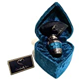 Cherishedly Yours Keepsake Urn for Human Ashes with Velvet Heart Case and Funnel - Beautiful Peaceful Dark Blue Brass Hand En