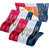 Beach Chair Towel Clips Clamps – 10 Pack Pool Towel Holder and Large Plastic Clamp – Red, White and Blue Jumbo Clothespins an
