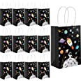 12 Pack Outer Space Gift Bags Kids Treat Bags with Handles Planet Galaxy Party Favor Goodie Bags Paper Treat Bags for Kids Bi