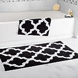 Lavish Home 2 Piece Trellis Bathroom Mat Set Black