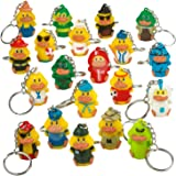 Kicko Rubber Duck Keychains - 20 Pack - 1.5 Inch Assorted Keyfob Duckies for Keyrings - for Party Favors, Decorations, Classr