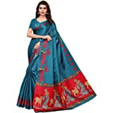 CRAFTSTRIBE Khadi Silk Printed Traditional Dress Bollywood Party Wear Indian Ethnic Sari Women Clothing Saree