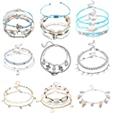 Jstyle 20Pcs Anklets for Women Girls Adjustable Charm Ankle Bracelet Handmade Turtle Boho Ankle Chains Foot Jewelry Set