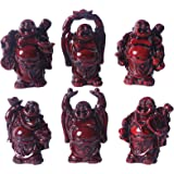 """Resin Red Laughing Buddha Figurines Lucky Happy Buddha Statue-Set of 6-About 2.5"""""""