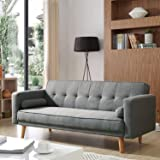 ELEGANT Sofa Beds 3 Seater, Grey Linen Fabric Modern and Versatile 3 Gears Adjustment Sofa for Living Room Guest Room, 1860x8