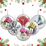 20 Pack 80mm/3.15in Fillable Clear Ornaments Balls, DIY Plastic Christmas Tree Decorations Balls Baubles Transparent Ball Gif
