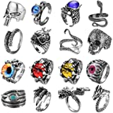 FIBO STEEL 16 Pieces Vintage Punk Rings for Men Women Gothic Rings Silver Black Dragon Snake Claw Skull Octopus Eyes of Hell