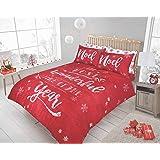 Sleepdown Christmas Santa Reversible Duvet Quilt Cover and Pillowcases Set (Christmas Chalk Board Red,King)