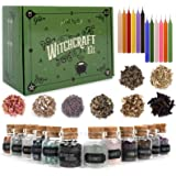 Witchcraft Supplies Box for Wiccan Spells – 36 Pack of Crystals Dried Herbs and Colored Magic Candles for Beginners Experienc