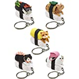 Clever Idiots Nekozushi Sushi Cat Keychain, Version 1 - Blind Box Includes 1 of 5 Collectable Figurines - Features a Detachab