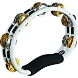 Meinl TMT1MWH Hand Tambourine and Dual Alloy Jingles - White