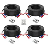 ZOSI 4 Pack 100ft(30M) All-in-One Video Power Cables,BNC Extension Security Camera Cable for CCTV Surveillance Camera DVR Sys
