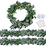 Trimgrace 2 Pack 6.5 Feet Artificial Silver Dollar Eucalyptus Leaves Garland with Willow Vines Twigs Leaves for Wedding Party