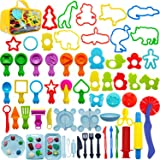 Play Dough Tools for Kids - 62 Pieces Various Plastic Molds, Premium Storage Bag and Playdough Accessories with Rollers Cutte