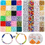 6000 Pcs Clay Heishi Beads for Bracelets, Flat Round Clay Spacer Beads With 900 Pcs Letter Beads, Pendants, Jump Rings, Clay