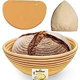 9 Inch Bread Banneton Proofing Basket - Baking Bowl Dough Gifts for Bakers Proving Baskets for Sourdough Lame Bread Slashing