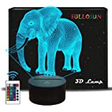 Elephant Gifts, 3D Night Light for Kids 16 Colors Changing 3D Illusion lamp with Remote Control & Smart Touch, Child Xmas Bir